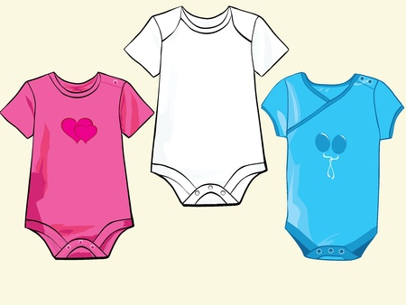 Baby onesie set in pink,blue and white in different styles Ilustracja