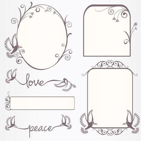 popular: Ornate vintage frame set  with doves with laurel leaves