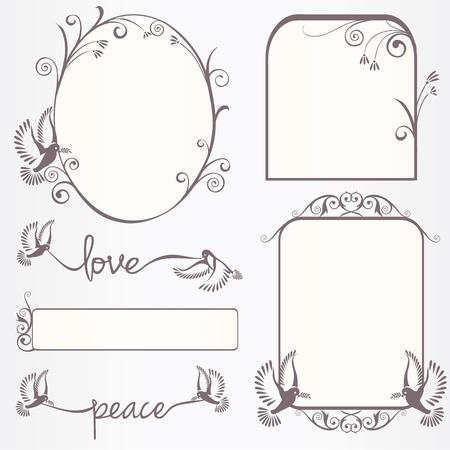 vignette: Ornate vintage frame set  with doves with laurel leaves