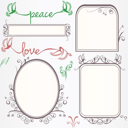 Frame set with birds and swirls Vector