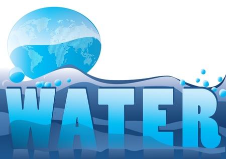 Świat na morzu wody, koncepcji ekologicznego Ilustracja