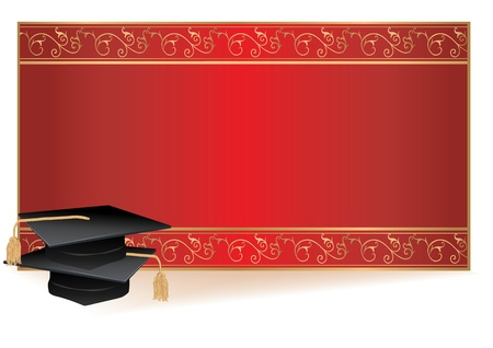 graduation ceremony: Graduation invitation card with gold border with mortars