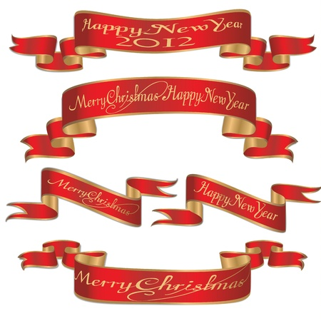 Set of  xmas,new year banners ribbons  Illustration