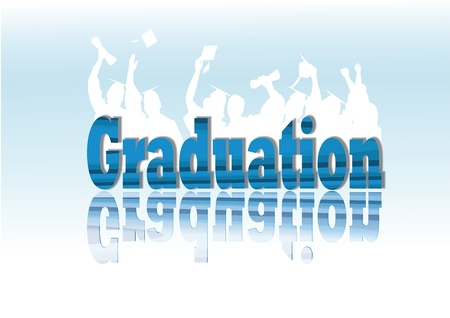Graduation celebration in silhouette