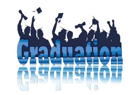 Celebración de la graduación en la silueta Ilustración de vector