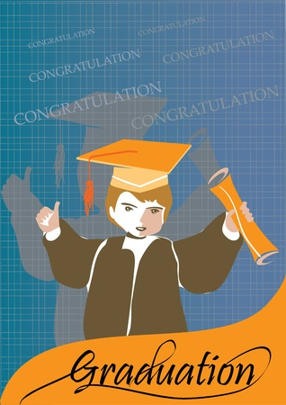 Graduation congratulation celebration card or banner with student 版權商用圖片 - 12084244