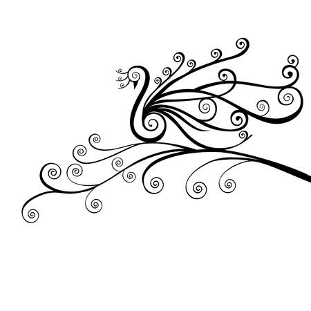 Bird , peacock in swirls Illustration