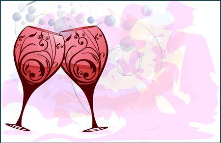 ワイングラスに乾杯  イラスト・ベクター素材