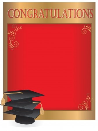 graduation background: Graduation invitation card with mortars