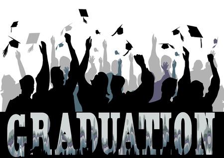 degrees: Graduation celebration in silhouette