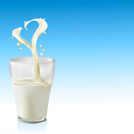glass of milk: Milk into glass