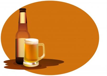 Kleurenfoto van een grote bierpullen en fles Stock Illustratie