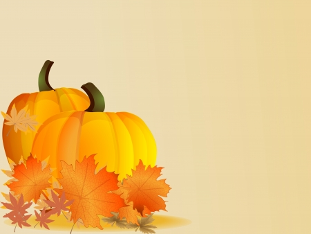 Pumpkins with leaves  Autumn Thanksgiving ound  Vector  Ilustração