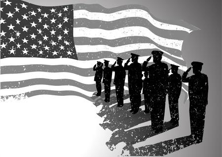 silhouette soldat: Drapeau grunge am�ricain avec la silhouette de soldats saluant Illustration