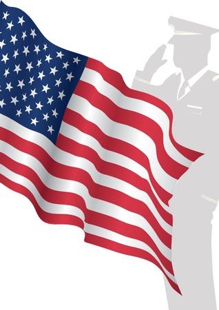 Żołnierz stojący przed US Flag salutowania