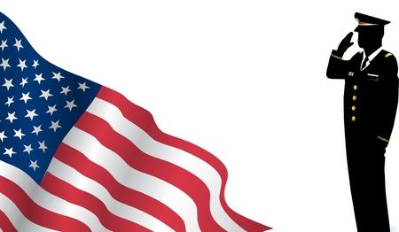Solider Staande Voor ons Vlag Groeten Stockfoto - 23073760