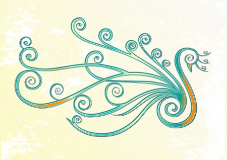 design elements: Bird, peacock stylized in swirls