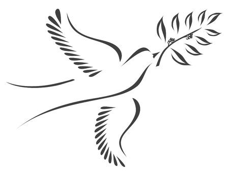 鳩とオリーブの枝に様式化されたベクトル  イラスト・ベクター素材