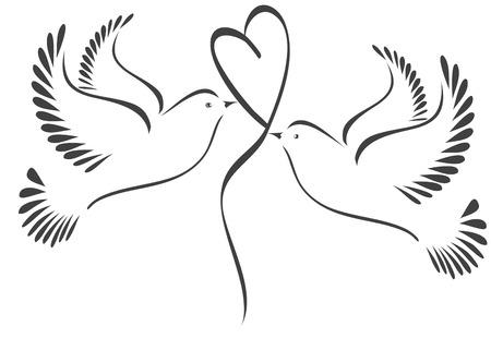 Duiven met hart gestileerde Stock Illustratie