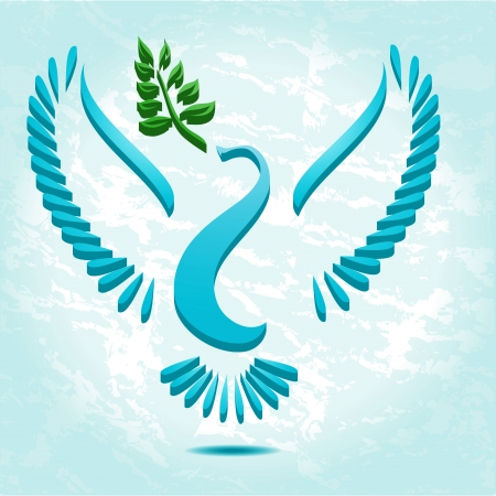 Dove with olive branch stylized vector Vector
