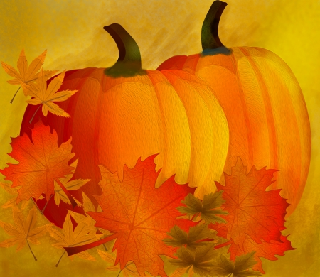 Pumpkins with leaves. Autumn Thanksgiving ound. Vector. Banco de Imagens