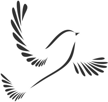 Colombe ou oiseau stylisé Banque d'images - 24198495