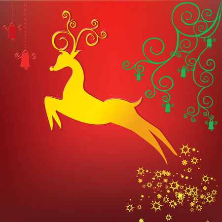 Rein deer stylized with scrolls ,christmas,new year background