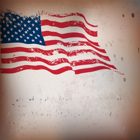 Cru de drapeau américain texturé Vecteurs