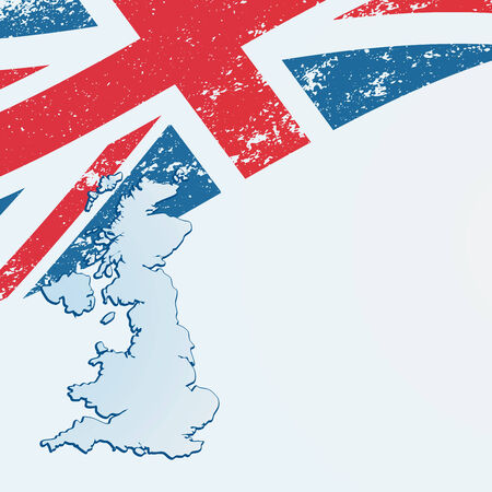 UK or British flag in map. Vectores