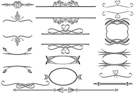 Wiktoriańskie ozdobny kwiatowy etykiety lub ramki z reguły zwoje i linii