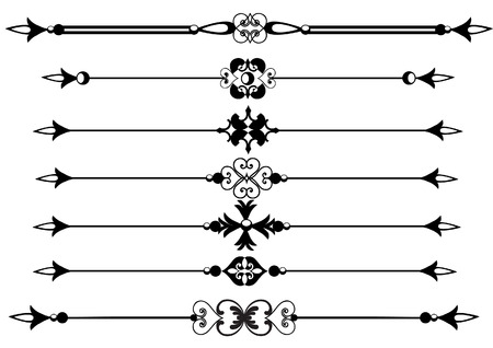 Rule lines with scrolls and flourishes