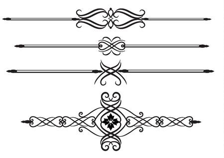 Elegant Ornate scrolls, rule lines  Çizim