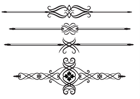 Elegant Ornate scrolls, rule lines  Vettoriali