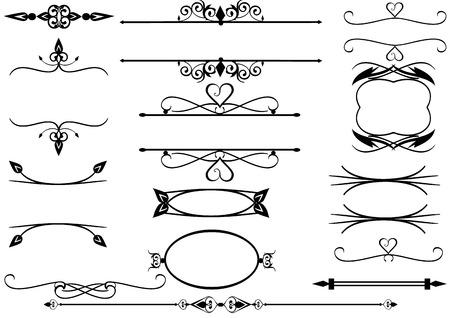 Líneas de la regla con pergaminos y florece
