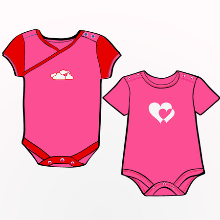 Ubrania dla niemowląt szablon dla dziewcząt Ilustracja