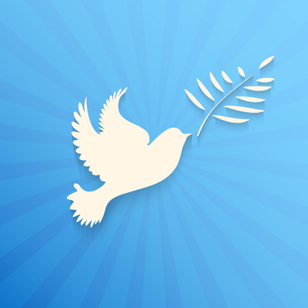 Dove with olive branch.Concept of freedom and peace. Banco de Imagens - 32015845