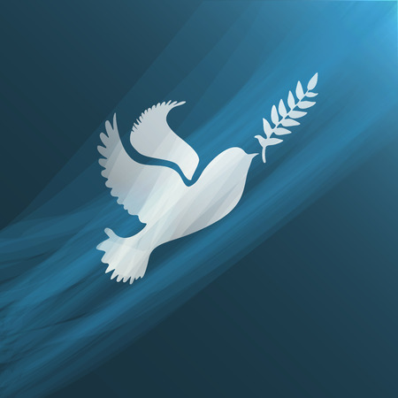 Dove with olive branch.Concept of freedom and peace. Ilustração
