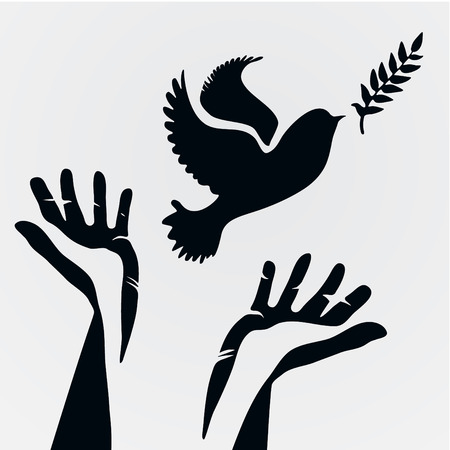 Dove with olive branch and hands.Concept of freedom and peace. Banco de Imagens - 32015851