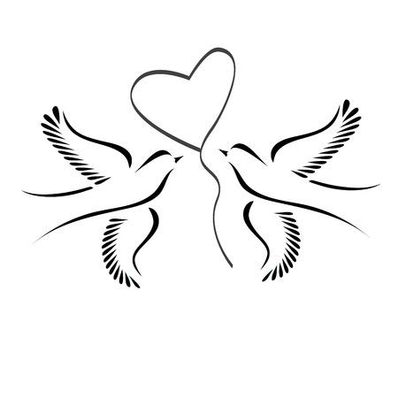 Colomba o piccioncini con il cuore Archivio Fotografico - 32015855