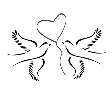 Dove or lovebirds with heart Stock Illustratie