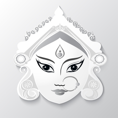 Goddess Durga Illustration for Indian festival Desshra background.