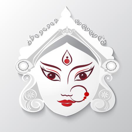 Bogini Durga Ilustracja do indyjskiego festiwalu Desshra tle. Ilustracja