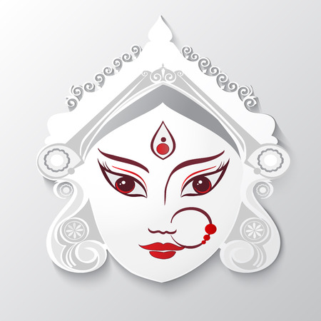Goddess Durga Illustration for Indian festival Desshra background.