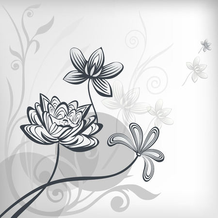 Stylized oriental lotus flowers.