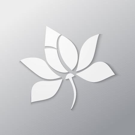 Lotus flower paper cutout in white Banco de Imagens - 32041487