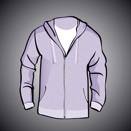 zip hoodie: Jacket  with Hood  or sweatshirt  template Illustration