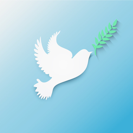 Dove with olive branch flying in blue sky stylized vector 일러스트