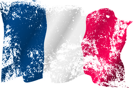 France grunge flag on transparent background.  Illustration