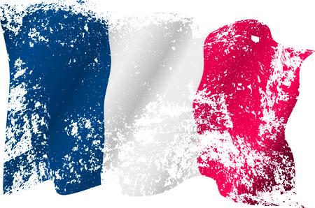 Francja grunge flaga na przezroczystym tle.