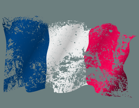 France or French  grunge torn flag flying.